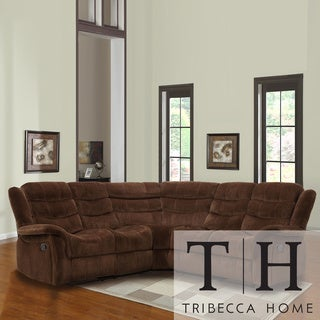 TRIBECCA HOME Grayson Chocolate Velvet Double Recliner Sectional