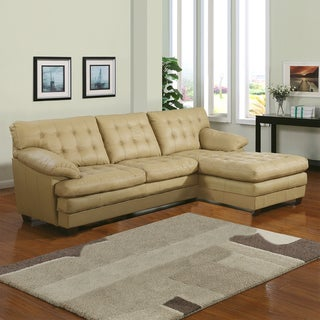 Lucian Taupe Leather Sectional