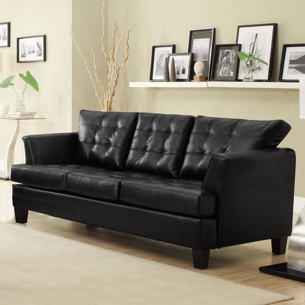 Dawson Black Bonded Leather Sofa