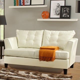 Dawson White Bonded Leather Loveseat