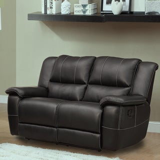 Griffin Black Bonded Leather Oversized Double Recliner Loveseat
