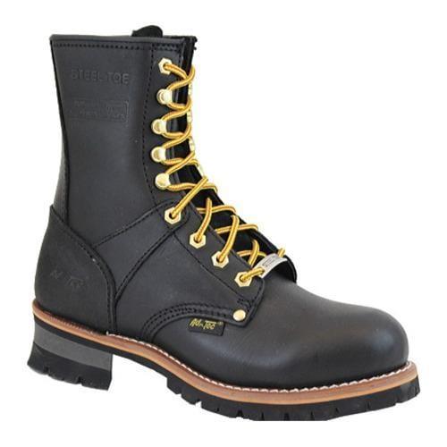 Men's AdTec 1428 Logger Boots 9in Steel Toe Black