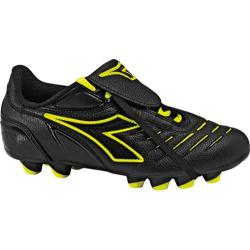 Children's Diadora Maracana MD PU Jr II Black/Yellow Fluorescent