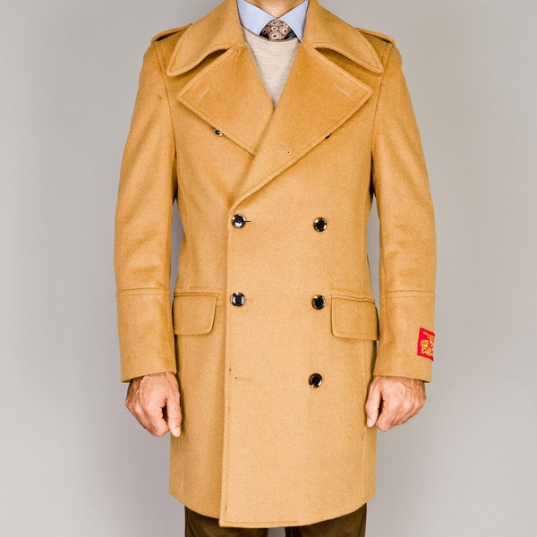 Men's Wool/Cashmere Blend Double Breasted Coat