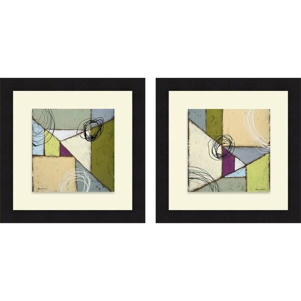 Michael Marcon 'Lemon Lime Play I & II' Framed Print