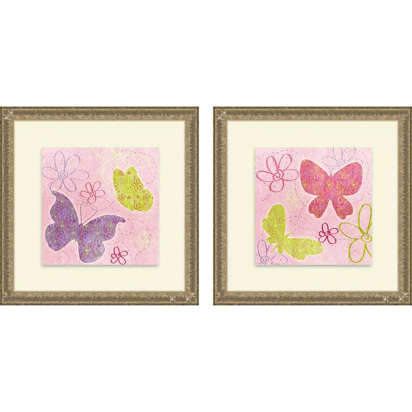 Sd Graphics Studio 'Fly Away I & II (Pink)' Framed Print