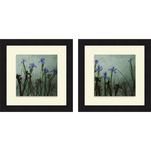 Patricia Pinto 'Blue Irises I & II' Framed Print