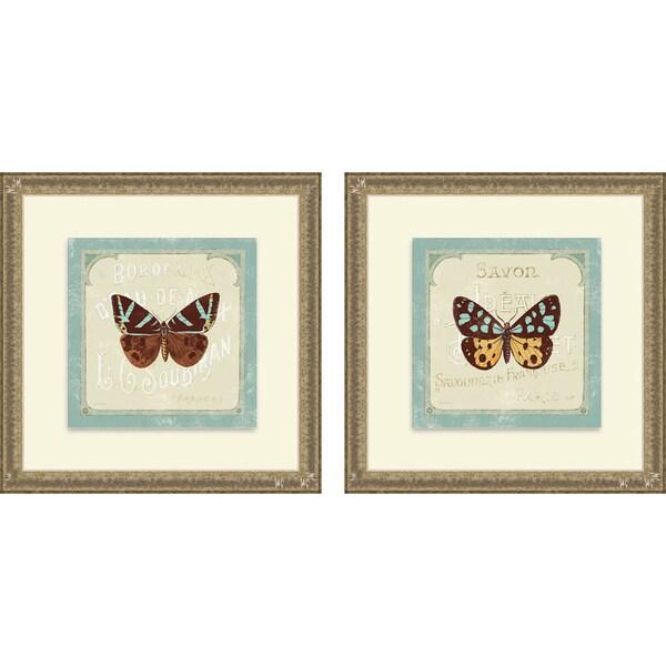 Sue Schlabach 'Parisian Butterfly I & II' Framed Print