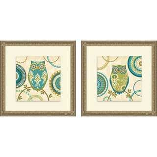 Veronique Charron 'Owl Forest I & II' Framed Print