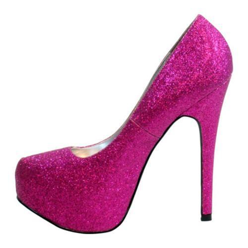 Women's Highest Heel Kissable-11 Fuchsia Glitter Polyurethane