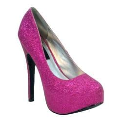 Women's Highest Heel Kissable-11 Fuchsia Glitter Polyurethane