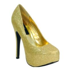 Women's Highest Heel Kissable-11 Gold Glitter Polyurethane