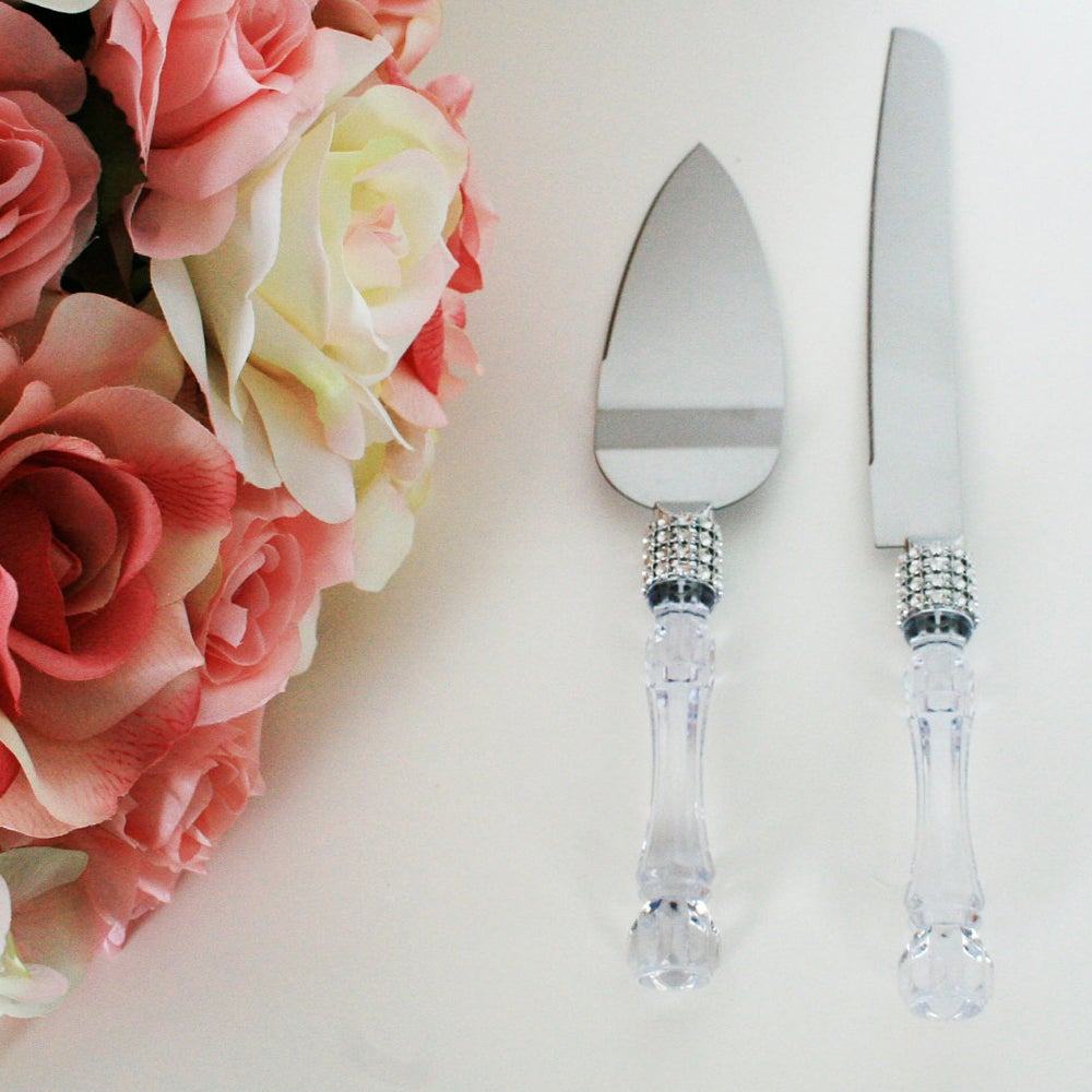 Universal Wedding Party Cake Knife Server Set with Faux Crystal Handle and Diamond Accents at Sears.com