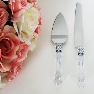 Wedding Party Cake Knife Server Set with Faux Crystal Handle and Diamond Accents