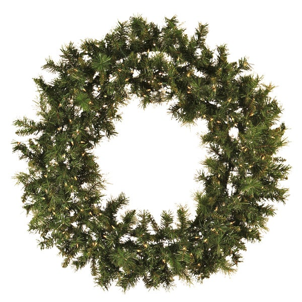 48-Inch Pre-lit Mixed Pine Christmas Wreath
