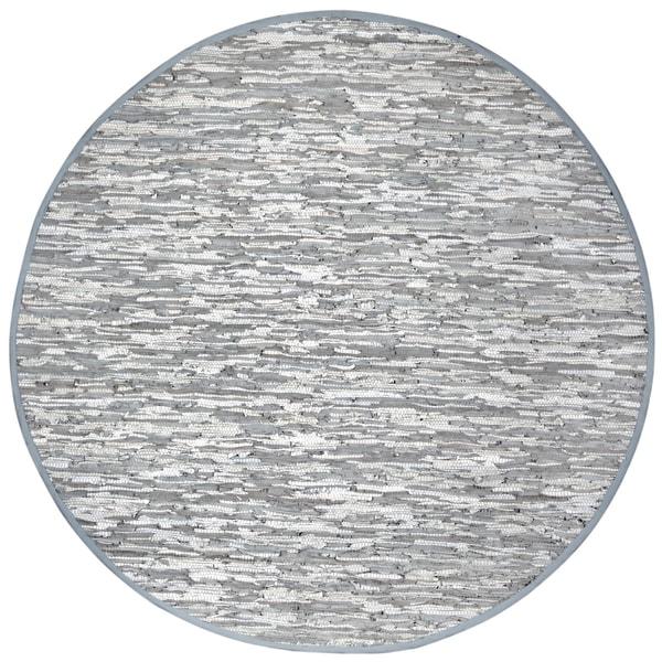 Hand-woven Matador White Leather Rug (6' Round)