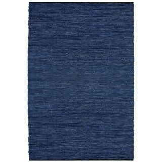 Hand-woven Matador Blue Leather Rug (9' x 12')