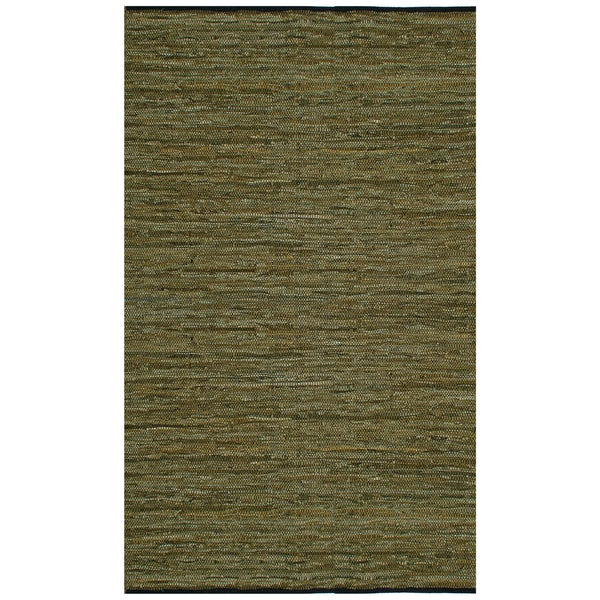 Hand-woven Matador Green Leather Rug (9' x 12')