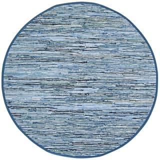 Hand-woven Matador Blue Denim/ Leather Rug (8' Round)