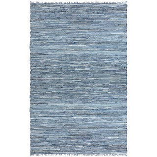 Hand-woven Matador Blue Denim/ Leather Rug (8' x 10')