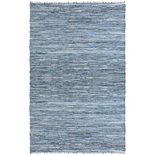 Hand-woven Matador Blue Denim/ Leather Rug (2'6 x 4'2)