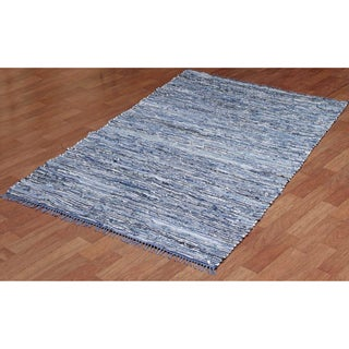 Hand-woven Matador Blue Denim/ Leather Rug (2'6 x 4'2)