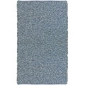 Hand-tied Pelle Blue Denim/ Leather Shag Rug (8' x 10')