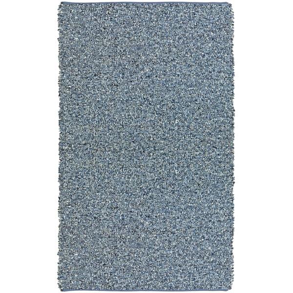 Hand-tied Pelle Blue Denim/ Leather Shag Rug (8' x 10')