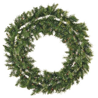 48-Inch Pre-Lit Mixed Pine Christmas Wreath Multi