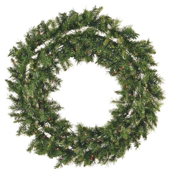 48-Inch Pre-Lit Mixed Pine Christmas Wreath Multi