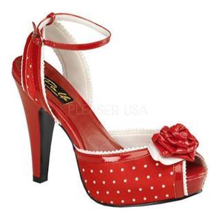 Women's Pin Up Bettie 06 Red Polka Dot Satin