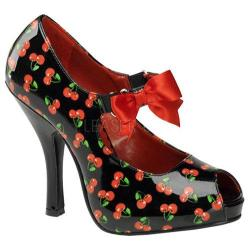 Women's Pin Up Cutiepie 07 Black/Red Cherry Patent Leather