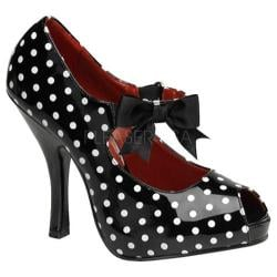 Women's Pin Up Cutiepie 07 Black/White Polka Dot Patent Leather