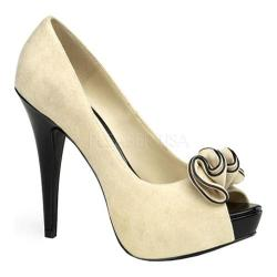 Women's Pin Up Lolita 10 Beige Sueded PU