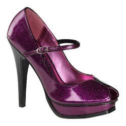 Women's Pin Up Pleasure 02G Fuchsia Pearlized Glitter Patent Leather