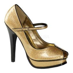 Women's Pin Up Pleasure 02G Gold Pearlized Glitter Patent Leather