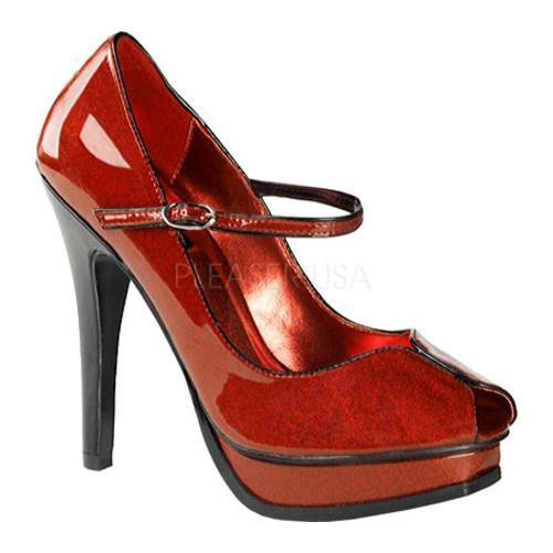 Women's Pin Up Pleasure 02G Red Pearlized Glitter Patent Leather