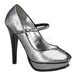 Women's Pin Up Pleasure 02G Silver Pearlized Glitter Patent Leather