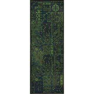Heriz Patchwork Green Wool Rug