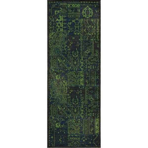 """Vintage Boaz Green New Zealand Wool Rug (1'8"""" x 2'8"""")"""