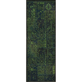 "Vintage Boaz Green New Zealand Wool Rug (1'8"" x 2'8"")"