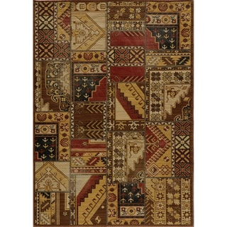 "Vintage Jasper Tribal Gold Patchwork New Zealand Wool Rug (1'8"" x 2'8"")"