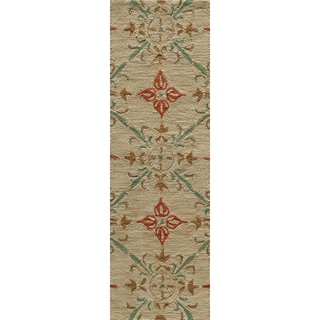 Hand-tufted Copia Medallions Beige Polyester Rug