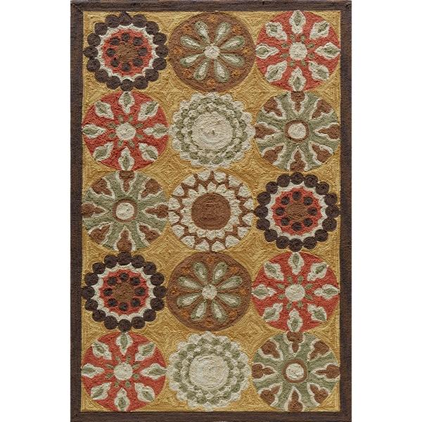 Copia Pinwheel Gold Hand-Hooked Polyester Rug (2' x 3')
