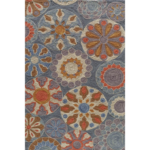 Copia Carnival Blue Gold Hand-Hooked Polyester Rug (2' x 3')