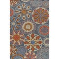 Hand-tufted Copia Carnival Blue Polyester Rug