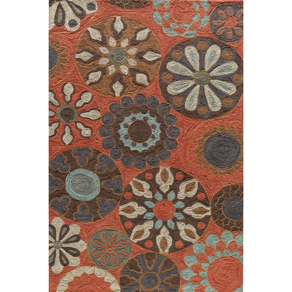 Copia Carnival Terracotta Hand-Hooked Polyester Rug (2' x 3')