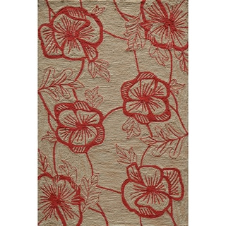 Hand-tufted Copia Flower Beige Polyester Rug