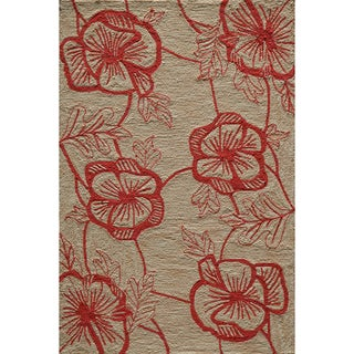 Copia Flower Beige Hand-Hooked Polyester Rug (2' x 3')