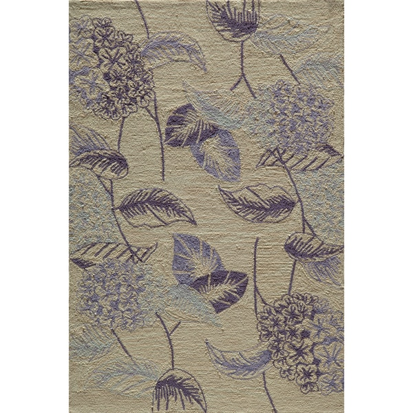 Copia Floral Lilac Hand-Hooked Polyester Rug (2' x 3')